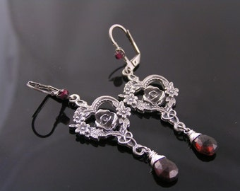 Garnet Earrings, Garnet Jewelry, Rose Earrings, Wire Wrapped Chandelier Earrings, January Birthstone Earrings, Romantic Jewelry, E2057