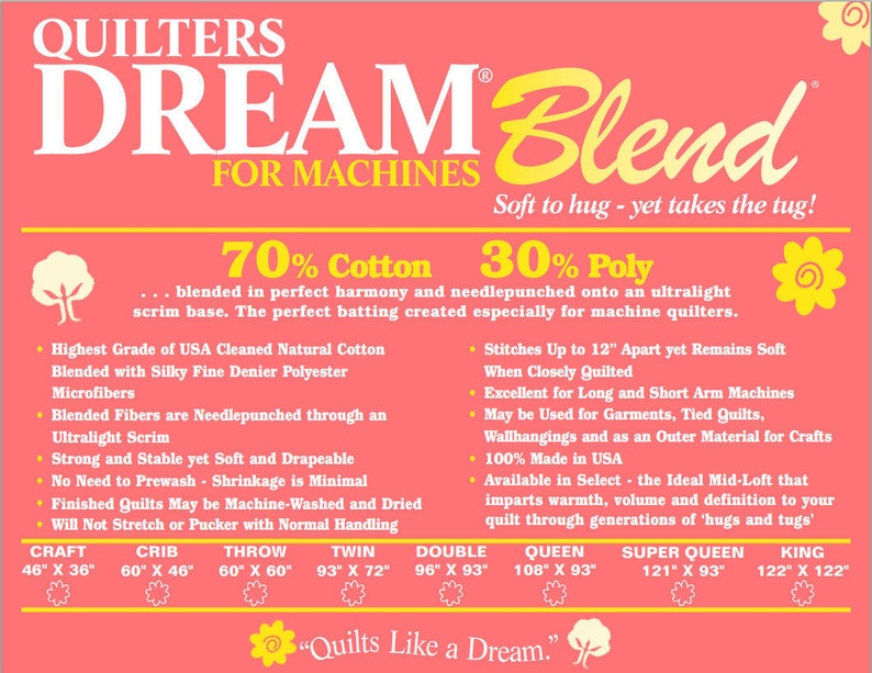 Dream Blend for Machines  Cotton Poly Blend Mid Loft Medium Weight Super Queen Size Natural Color Quilters Dream Batting