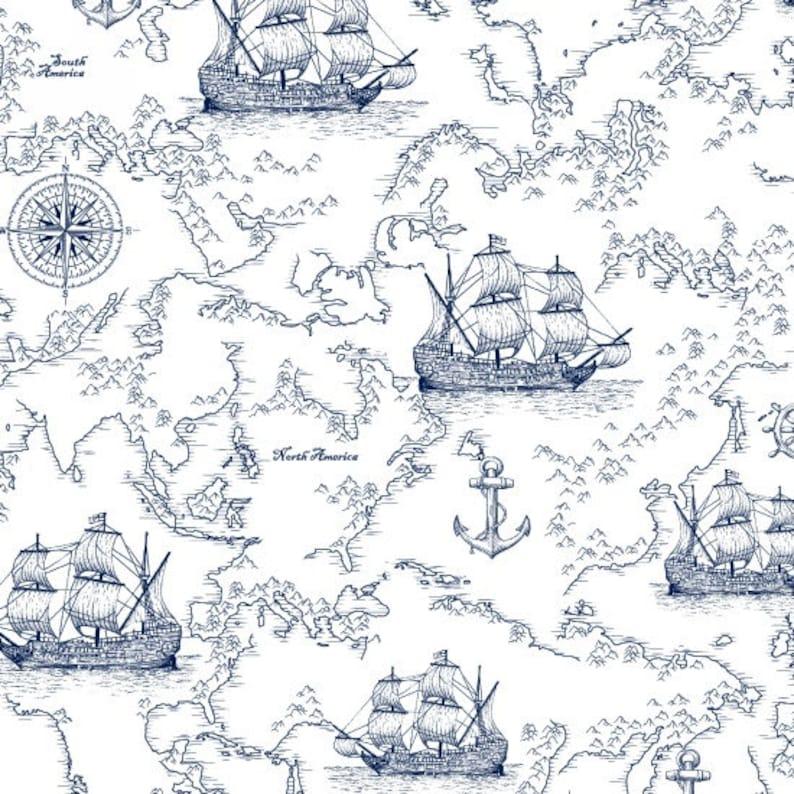 StudioE YARD Nautical Fabric Indigo Coastal Small Blue Sharks