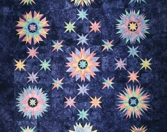 Starr Designs Hand Dyed Cotton Fabric Quilt Kit Queen Size Winters Solstice Quilting Sewing Crafting fabrics
