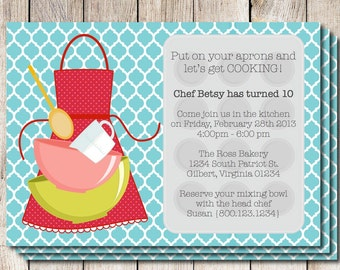 Cooking party invitation, baking party invitation, baking birthday party, cooking birthday party, printable baking party invitation, shower