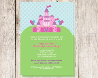 Baby shower invitation, princess baby shower, baby girl shower invitation, printable princess party invitation, princess party invitation