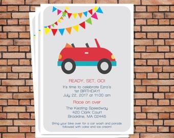 Race car birthday invitation, race car birthday party, car party invitation, boy birthday invitation, printable birthday party invitation
