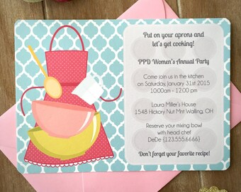 cooking party invitation child cooking birthday party kitchen bridal shower invitation bake party retro kitchen cooking class set of 10