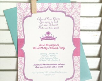 Princess party invitation, princess birthday party invitation, first birthday, sweet sixteen invitation, diva birthday party,  set of 10