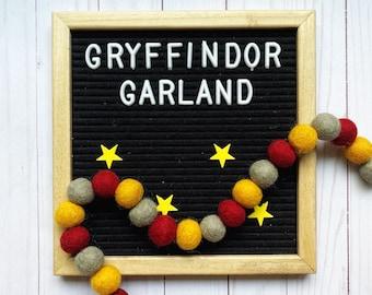 Felt pom pom garland kit, Harry Potter decoration, Harry Potter party,  DIY craft kit, craft kit for kids, dorm decoration, playroom decor