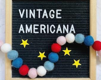 Felt pom pom garland kit, Americana decoration, Americana garland, craft kit, craft kit for kids, red white and blue, American flag decor