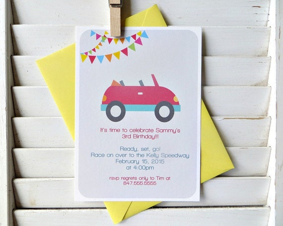 Race Car Birthday Party Invitation Car Themed Birthday Party Car Themed Party Boys Birthday Party Invitation Set Of 10