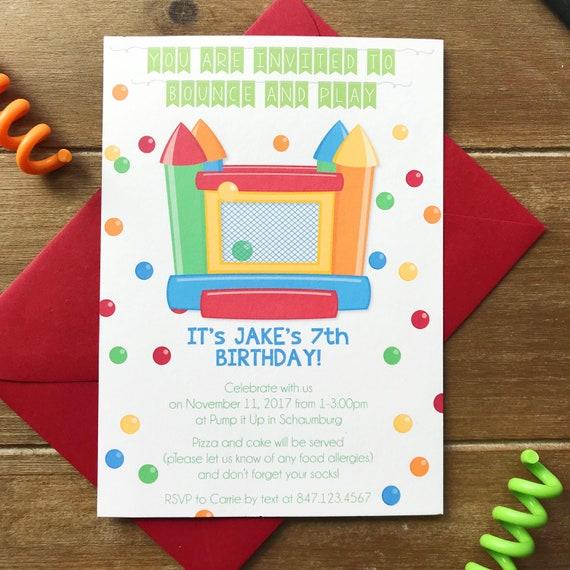 Bouncy House Invitations Kids Birthday Party Invitation Etsy