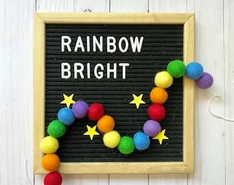 Rainbow pom pom garland kit, rainbow felt pom pom garland, DIY craft kit, craft kit for kids, rainbow decoration, playroom decoration