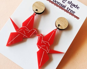 Red Origami Crane dangly statement earrings with Tasmanian Oak timber studs