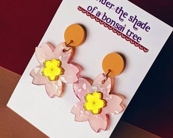 Sakura Pop Cherry Blossom dangly statement earrings - Pink, Peach Orange and Yellow Mirror
