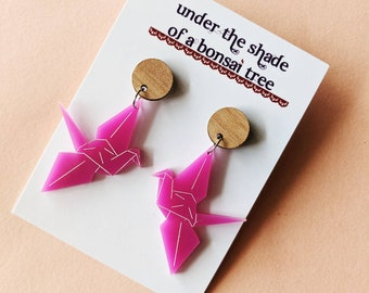 Purple Origami Crane dangly statement earrings with Tasmanian Oak timber studs
