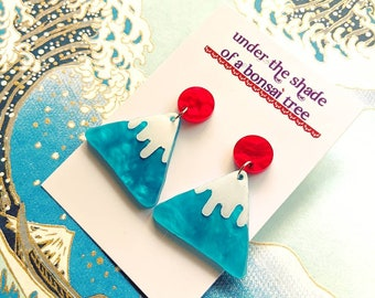 Statement earrings, mountain studs, Mt Fuji and Rising Sun, Japanese, kawaii, red and blue turquoise jewelry
