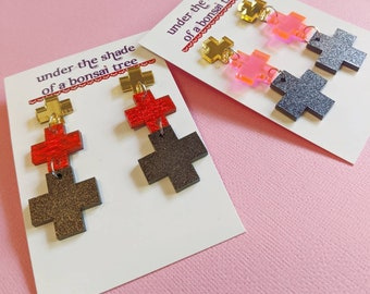 Triple Cross Earrings, Gold Mirror, Shimmery Red Fabric/Translucent Neon Pink and Glittery Black Acrylic