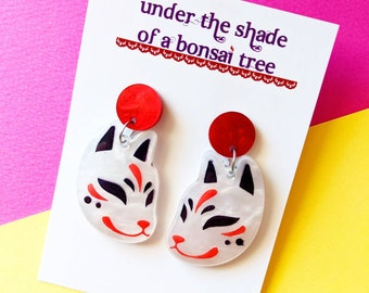 Kitsune Japanese fox statement earrings, red and white marble laser cut acrylic, dangly studs