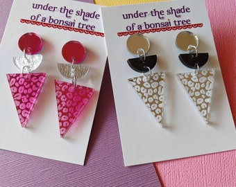 Leopard Print Triangle Statement Earrings - Pink Mirror/Shimmery Silver or Silver Mirror/Glittery Black