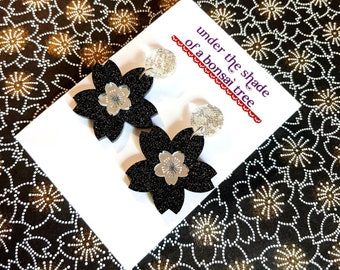 Sakura Pop Cherry Blossom dangly statement earrings - Black and Silver
