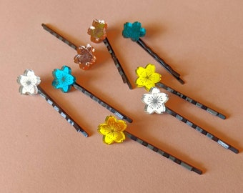 Sakura Hair Pins -2 x mirrored cherry blossom pins in teal, rose gold, yellow and silver