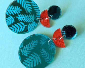 Teal Mirror and Shimmery Red Fabric Fern Statement Earrings