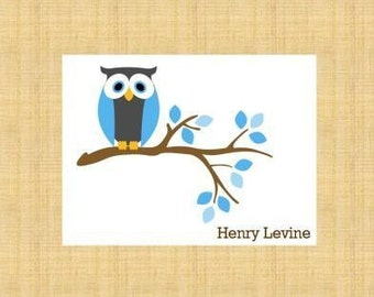 Blue Owl on a Branch Personalized Stationery (set of 10 folded notes)
