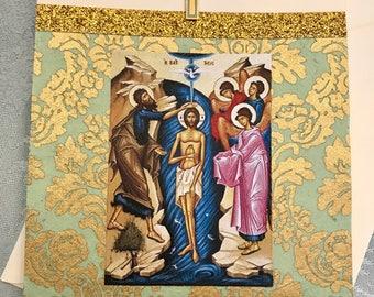 Elegant Orthodox Baptism Card