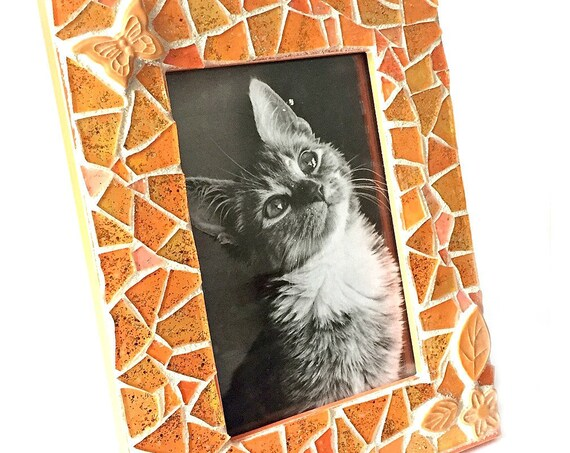 Orange Mosaic Photo Frame, Orange Gold Glitter Mosaic Frame, 4x6 Photo Mosaic Frame, 4x6 Orange Peach Butterfly Flower Mosaic Picture Frame