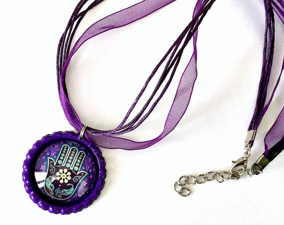 Hamsa Organza Ribbon Necklace, Hamsa Hand Ribbon Necklace, Purple Hamsa Pendant, Hamsa Organza Ribbon Choker Necklace, Fatima Pendant