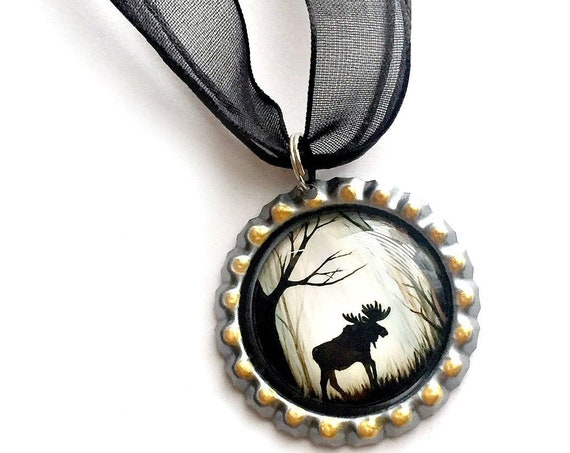 Moose Choker Necklace, Maine Moose Choker Necklace, Moose Organza Ribbon Bottle Cap Pendant, Black Brown Moose in the Woods Pendant