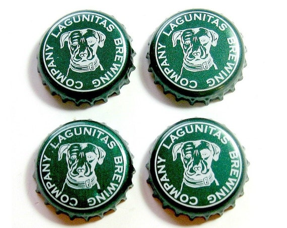 Beer Magnets, Bottle Cap Magnets, Lagunitas Bottle Cap Magnets, Bar Magnet Set, Four Beer Bottle Magnets, Pitbull Magnets, Microbrew Magnets