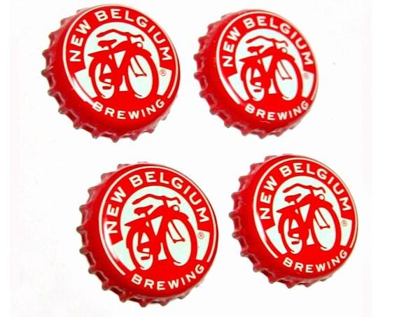 Craft Beer Magnet Set, Fat Tire Beer Cap Magnets, New Belgium Beer Bottle Top Magnets, Set of 4, File Cabinet Magnet, Refrigerator Magnets