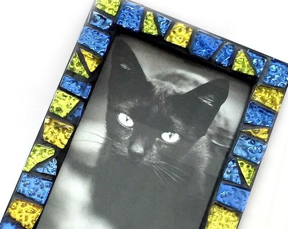 Gem Stone Colored Mosaic Glass Tile Frame, Iridescent Glass Mosaic Frame, 4x6 Black Frame with Glitter Tiles, Handmade Mosaic Tile Frame