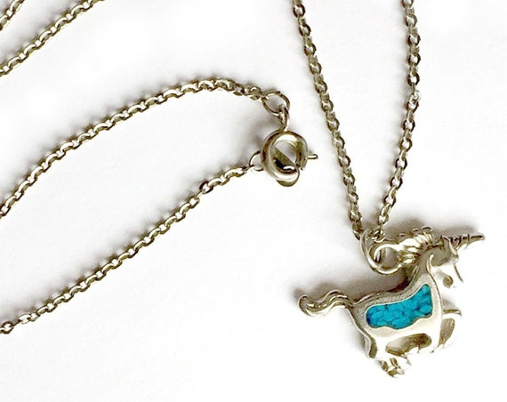 Vintage Silver Unicorn Turquoise Charm Necklace, Silver Unicorn Pendant, Inlaid Crushed Turquoise Mosaic Unicorn Necklace, Unicorn Pendant