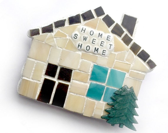 Home Sweet Home Magnet, Mosaic Magnet, House Magnet, Handmade Mosaic House Magnet, HouseWarming Mosaic Magnet,Home Sweet Home Kitchen Magnet