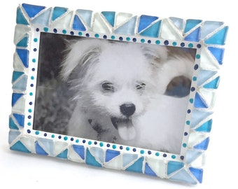 Blue White Mosaic Photo Frame, Blue White Mosaic Frame, 4 x 6 Photo Mosaic Frame, Blue Triangle Glass Mosaic Frame, Blue 4x6 Mosaic Frame,