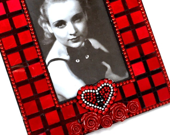 Red Rose Mosaic Frame, Red Mosaic Picture Frame, Red Black Mosaic Frame, Red Roses Skeleton Mosaic Frame, Red Black Goth Frame, 5x7 Frame