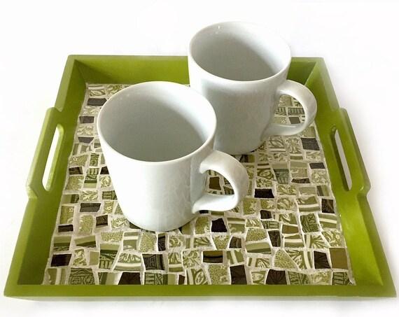 Green Mosaic Broken China Tray, Square Green Handled Mosaic Tray, Handmade Mosaic Tray, Mosaic Avocado Green Tray, Apple Green Mosaic Tray