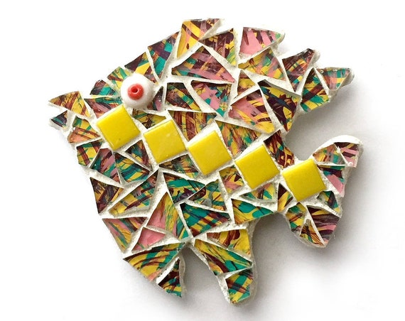 Mosaic Fish Magnet, Mosaic Magnet, Tropical Fish Magnet, Handmade Mosaic Fish Magnet, Yellow Multi Color Fish Magnet, Fish Kitchen Magnet