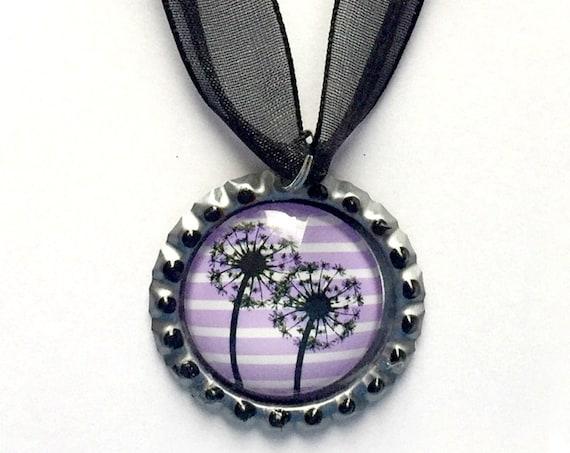 Dandelion Choker Necklace, Purple Black Dandelion Choker, Dandelion Organza Ribbon Bottle Cap Pendant, Black Lavender Dandelion Pendant