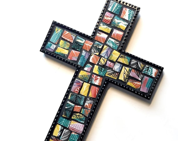 Mosaic Cross, Black Mosaic Wall Cross, Multi Colored Ceramic and Wood Mosaic Cross, Mosaic Cross Wall Hanging, Handmade Wall Cross Decor
