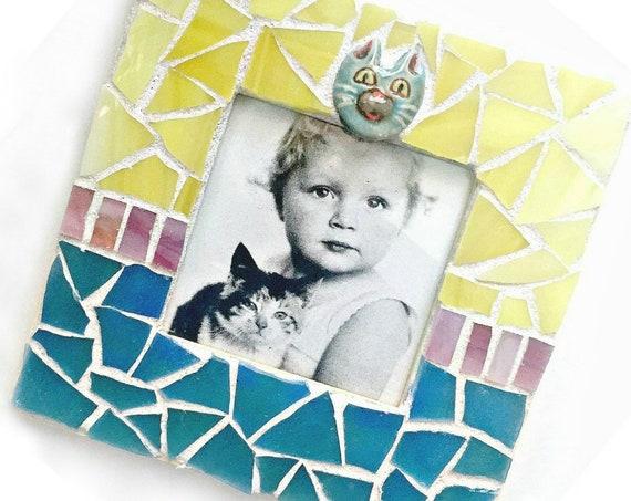 Mosaic Cat Frame, Embellished Mosaic Picture Frame, Yellow Blue Pink Square Frame, Pet Frame, Blue Yellow Cat Mosaic Frame, Pet Lover Frame