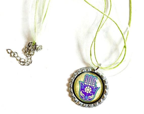 Hamsa Organza Ribbon Necklace, Hamsa Hand Ribbon Necklace, Green Purple Hamsa Pendant, Hamsa Organza Ribbon Choker Necklace, Fatima Pendant
