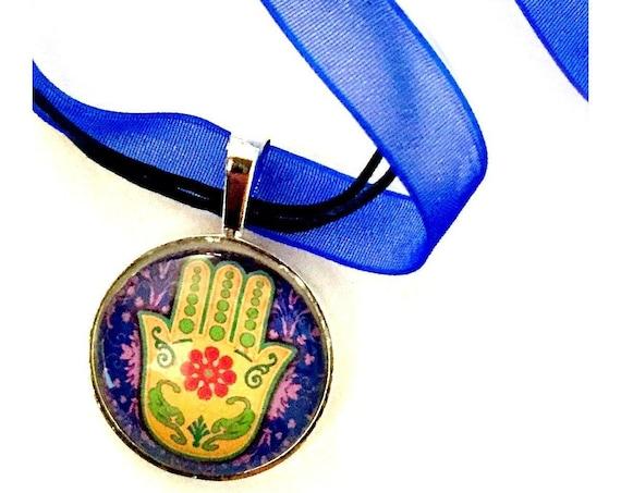 SALE Hamsa Organza Ribbon Necklace, Hamsa Hand Ribbon Necklace, Royal Blue Hamsa Pendant, Hamsa Organza Choker Necklace, Fatima Pendant