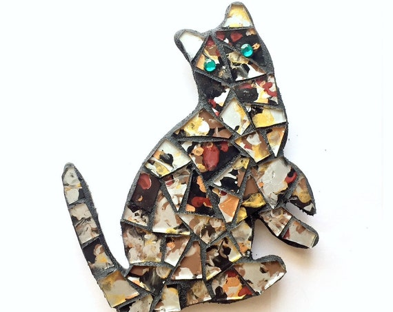 Mosaic Cat Magnet, Green Eyed Mosaic Calico Cat Magnet, Calico Mosaic Cat Magnet, Black Silver Gold Cat Magnet, Cat with Blue Green Eyes