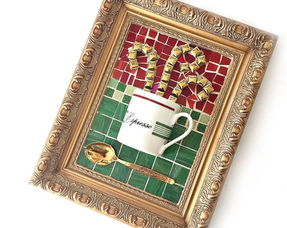 Mosaic Espresso Cup Art, Red Green Gold Mosaic Coffee Cup Art, Framed Espresso Coffee Mixed Media Art, Coffee Cup Art, Kitchen Coffee Art