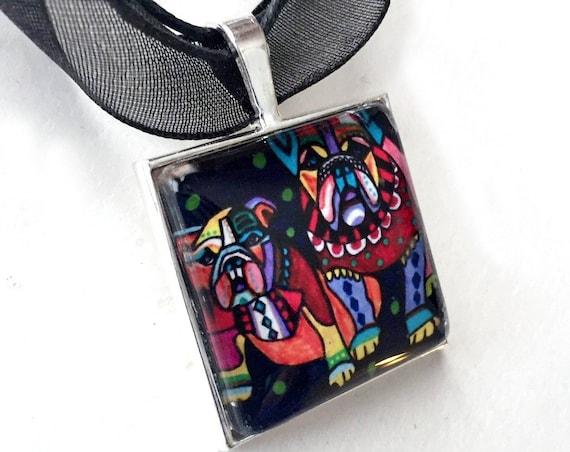 Bulldog Organza Ribbon Necklace, Bulldogs Necklace with Organza Ribbon, Bulldog Pendant, Black Red Bulldog Organza Ribbon Choker Necklace