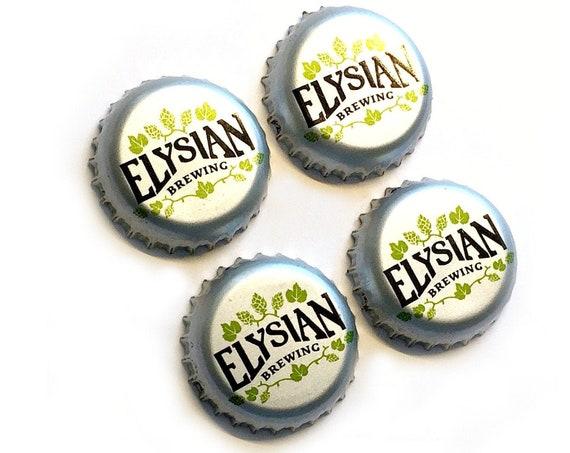 Craft Beer Magnet Set, Elysian Brewing Company Magnets, Seattle Beer Bottle Top Magnets, Set of 4, Elysian Magnet Set ,Refrigerator Magnets