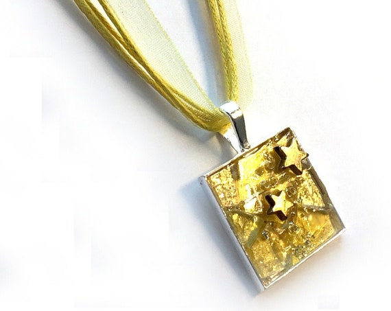 SALE - Yellow Gold STAR Pendant, Yellow Mosaic Star Pendant on Organza Necklace, Mosaic Necklace, Gold Star Yellow Mosaic Pendant Choker
