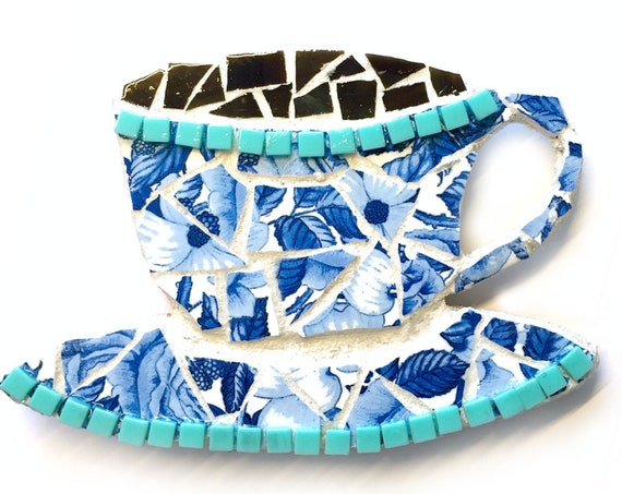Coffee Cup Magnet, Mosaic Coffee Cup Magnet,  Blue and White Coffee Tea Cup Magnet, Decorative Kitchen Coffee Magnet, Mosaic Teacup Magnet