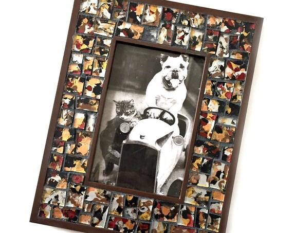 Brown Black Silver Mosaic Photo Frame, Brown BlacSilver Mosaic Frame, 4 x 6 Photo Mosaic Frame, 4 x 6 Brown Black Print Mosaic Picture Frame